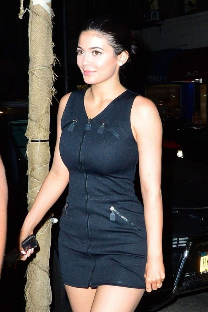 Kylie Jenner in Black Mini Dress – Out in New York City