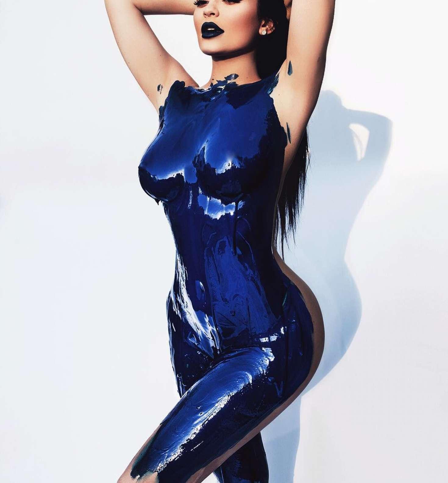 kylie jenner in body paint   sasha samsonova photoshoot
