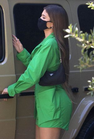 Kylie Jenner - In green outfit spotted out for Lunch at 40 Love in West Hollywood