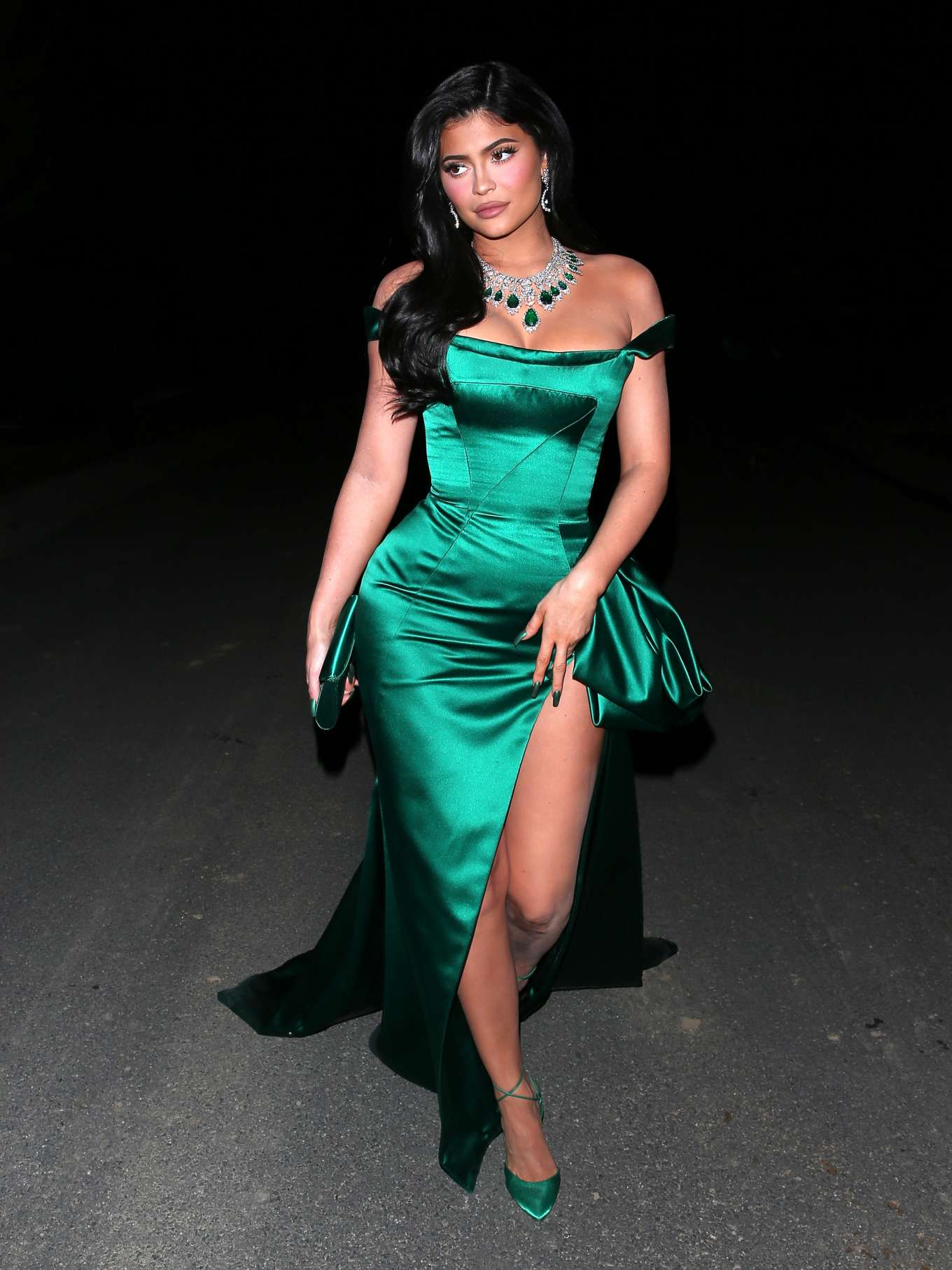 Kylie Jenner in Green Satin Dress - Going to the Kardashian's Christmas Eve bash in LA