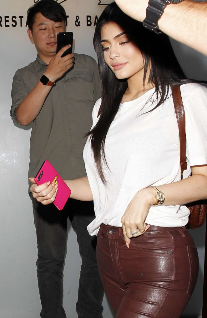 Kylie Jenner in Leather Leaving Nobu in London