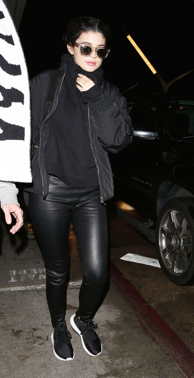 Kylie Jenner in Leather Pants out in Manhattan