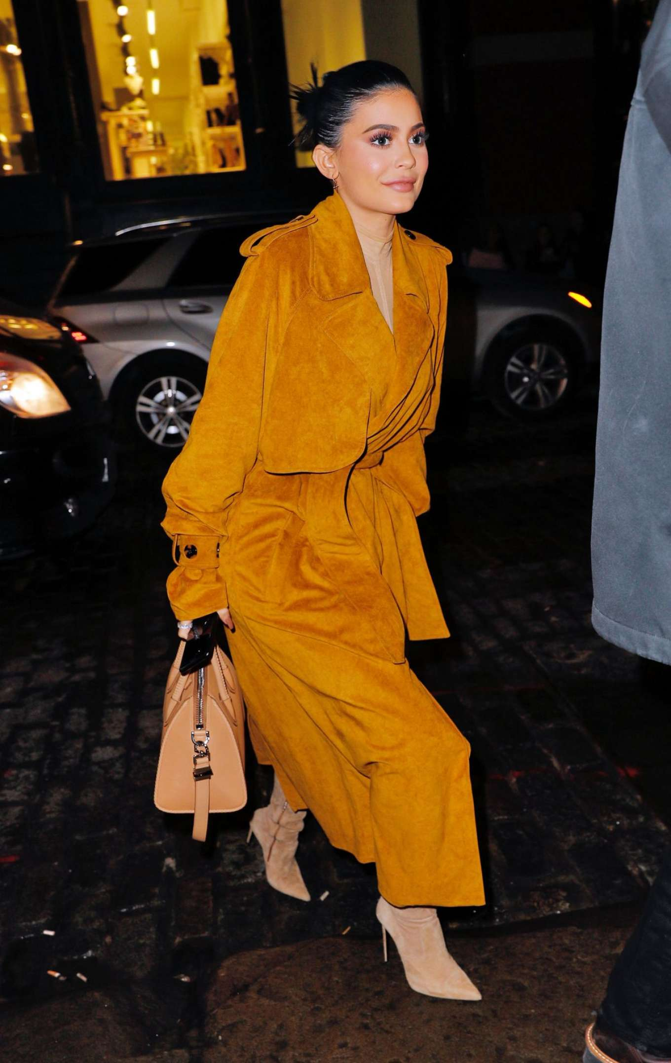 Kylie Jenner in Long Coat Out For Dinner in New York