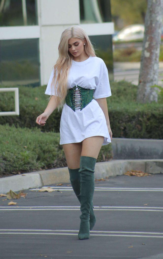 Kylie Jenner in Mini Dress Leaves an Office Meeting in LA