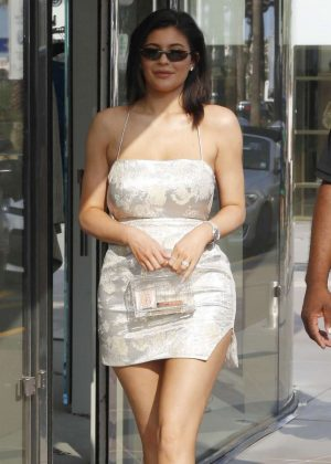 Kylie Jenner in Mini Dress - Out in Cannes