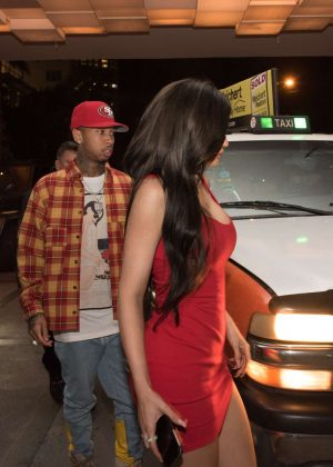 Kylie Jenner in Red Mini Dress in Miami