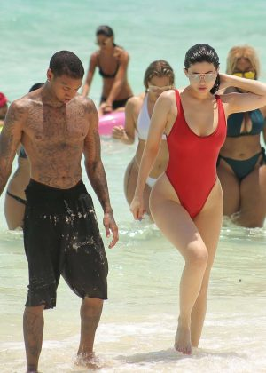 Kylie Jenner Bikini 2016: In Red Swimsuit in Turk and Caicos-01