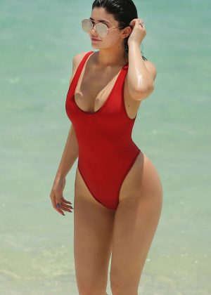 Kylie Jenner Bikini 2016: In Red Swimsuit in Turk and Caicos-04