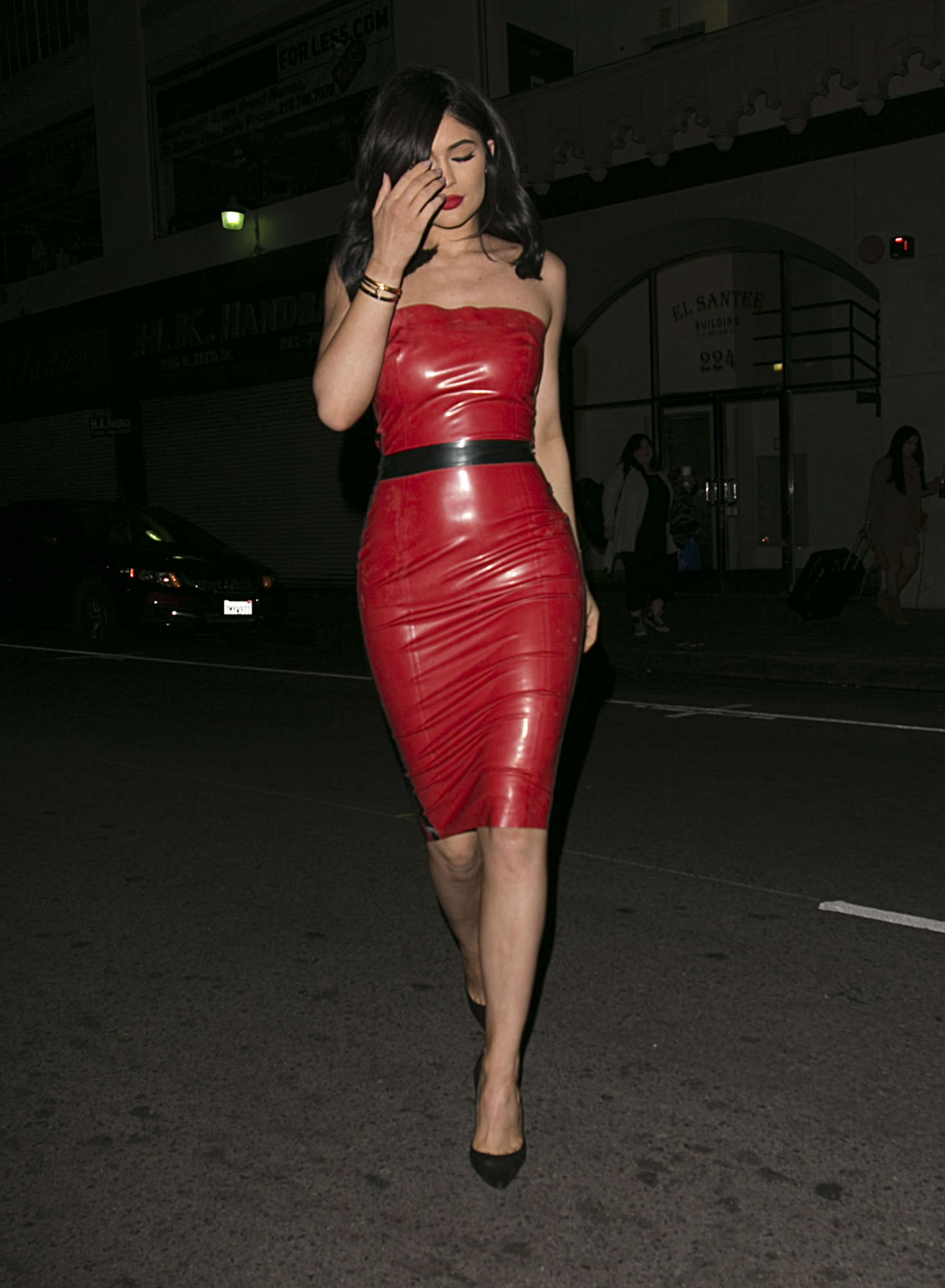 Kylie Jenner In Red Tight Dress -22