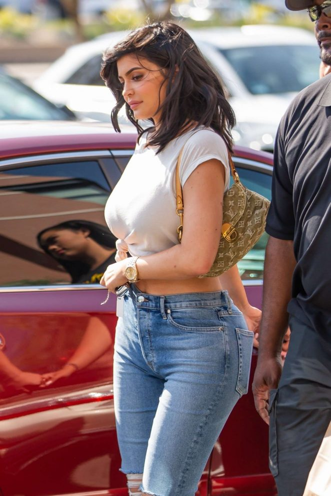 Kylie Jenner in Ripped Jeans with Jordan Woods out in Calabasas