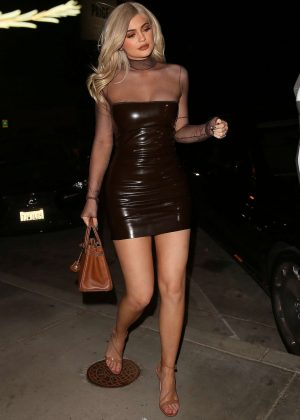 Kylie Jenner in Short Leather Dress at Catch Restaurant in Los Angeles