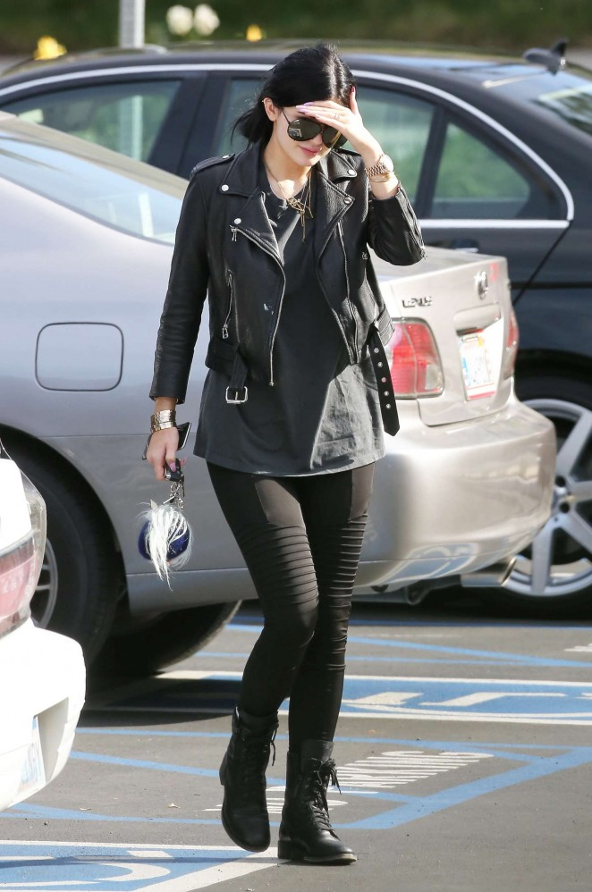 Kylie Jenner In Tights And Leather Jacket -22