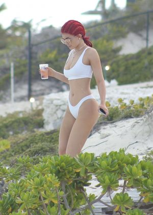 Kylie Jenner in White Bikini in Turks & Caicos