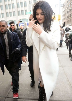 Kylie Jenner in White Coat Arrives at Her Hotel in NY