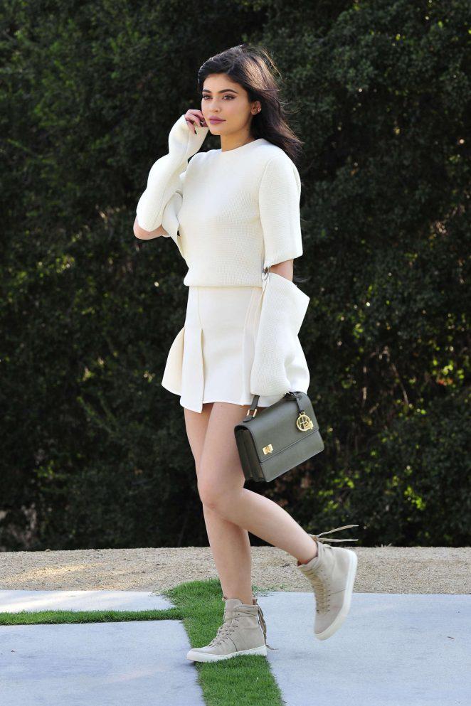 Kylie Jenner in White Mini Skirt -03