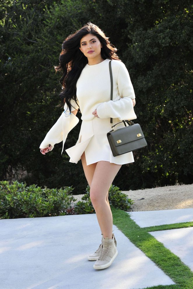 Kylie Jenner in White Mini Skirt out in Beverly Hills