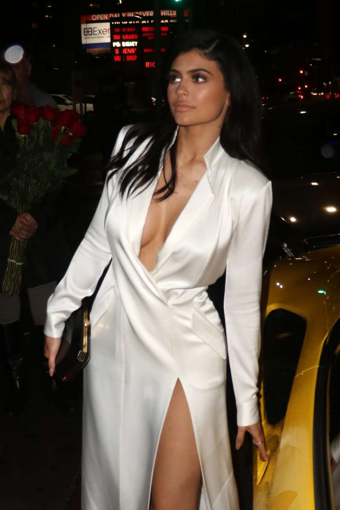 Kylie Jenner in White Satin Dress at The Nice Guy in West Hollywood
