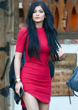 Kylie Jenner in Red Mini Dress at Sagebrush Cantina in Calabasas