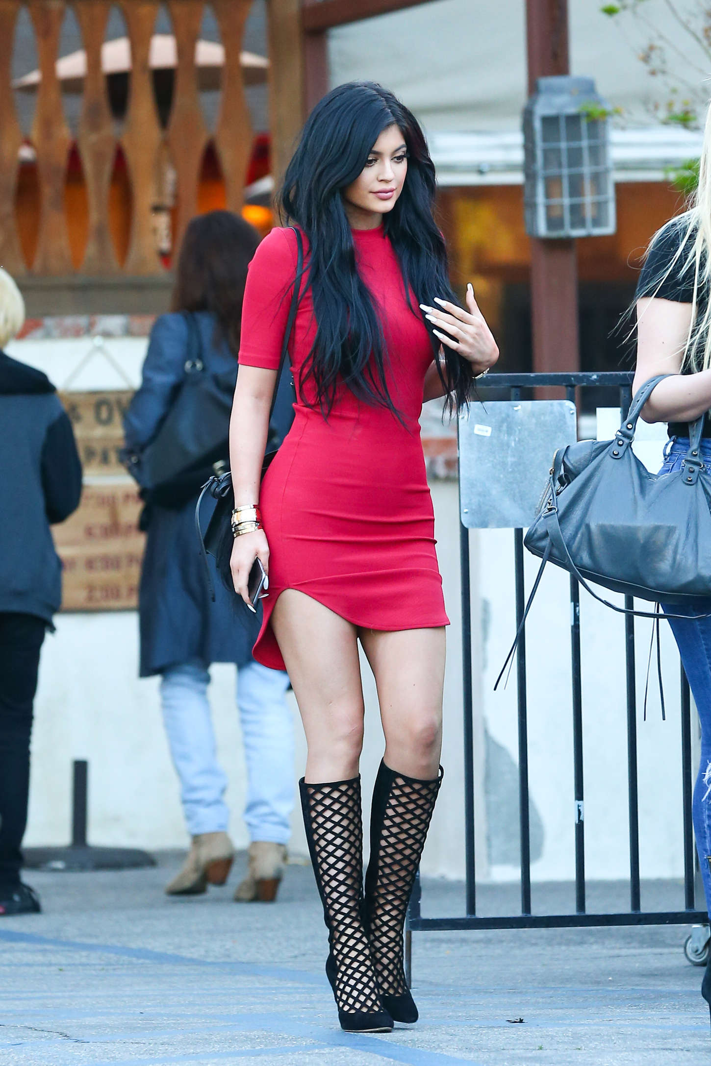 Kylie Jenner In Red Mini Dress -18