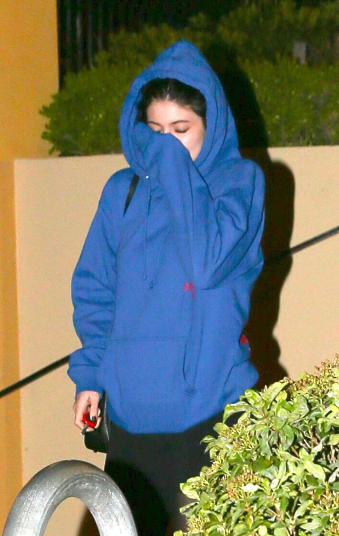 Kylie Jenner in Tights Leaving Sugarfish in Calabasas