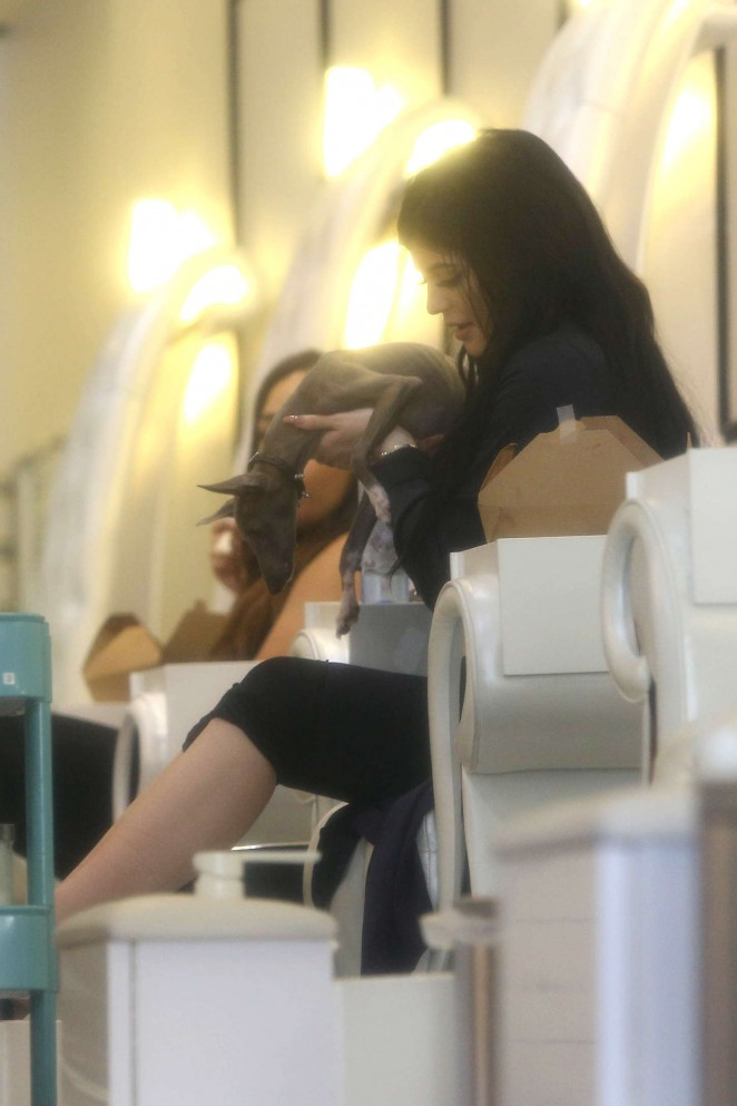 Kylie Jenner at Nail Bar and Beauty Lounge -08