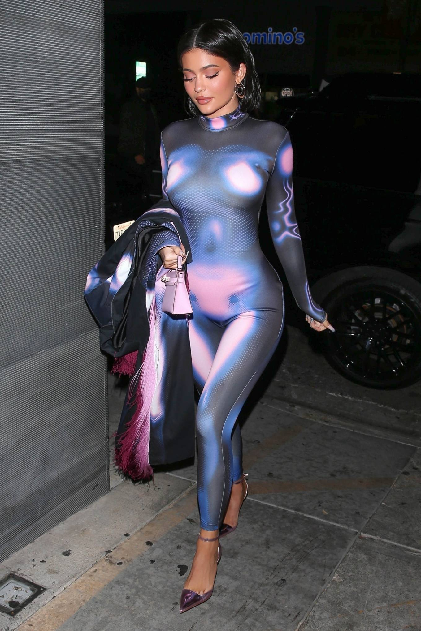 Kylie Jenner 2021 : Kylie Jenner – Night out in Fortnite galaxy skin look catsuit at Nobu in Malibu-07