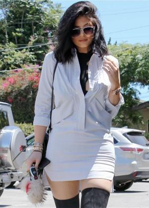 Kylie Jenner in Mini Dress Out in LA