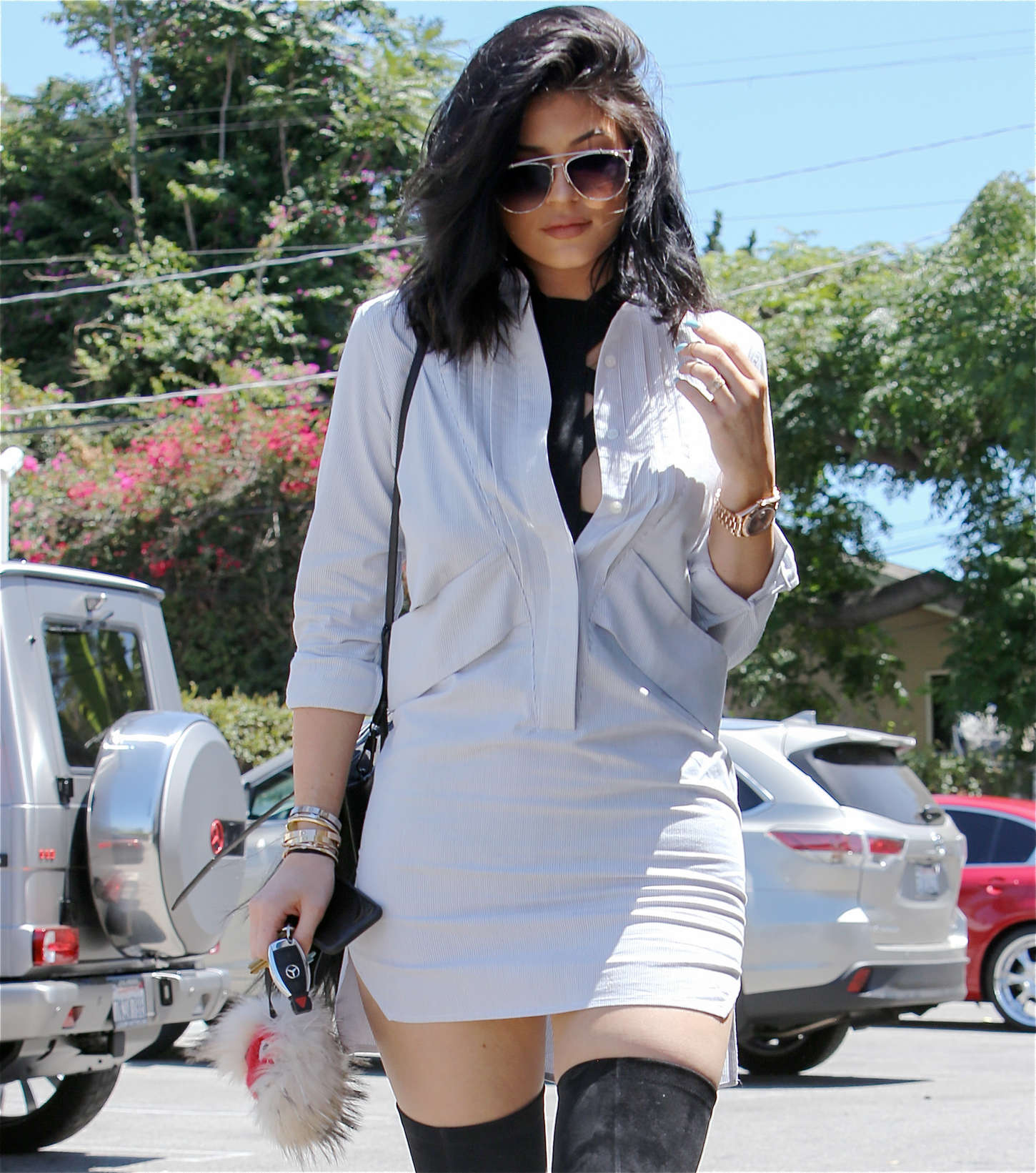 Kylie Jenner in Mini Dress Out in LA