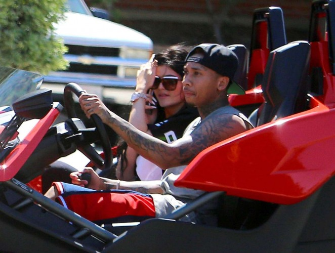 Kylie Jenner - Out for a Ride with Tyga in Woodland Hills