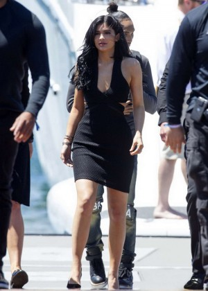Kylie Jenner in Tight Black Dress on a Yacht in Sydney