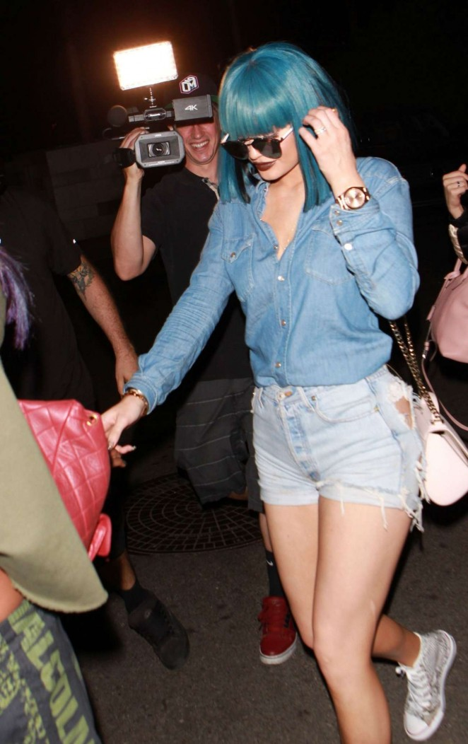 Kylie Jenner in Jeans Shorts out to dinner in Hollywood