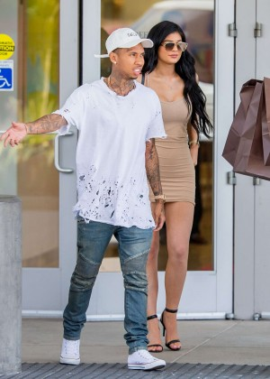 Kylie Jenner in Tight Mini Dress Shopping in Woodland Hills
