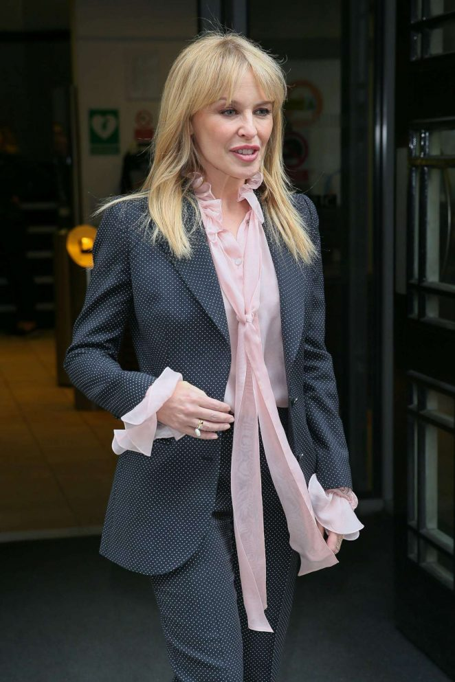 Kylie Minogue - Arriving at BBC Radio Two Studios in London