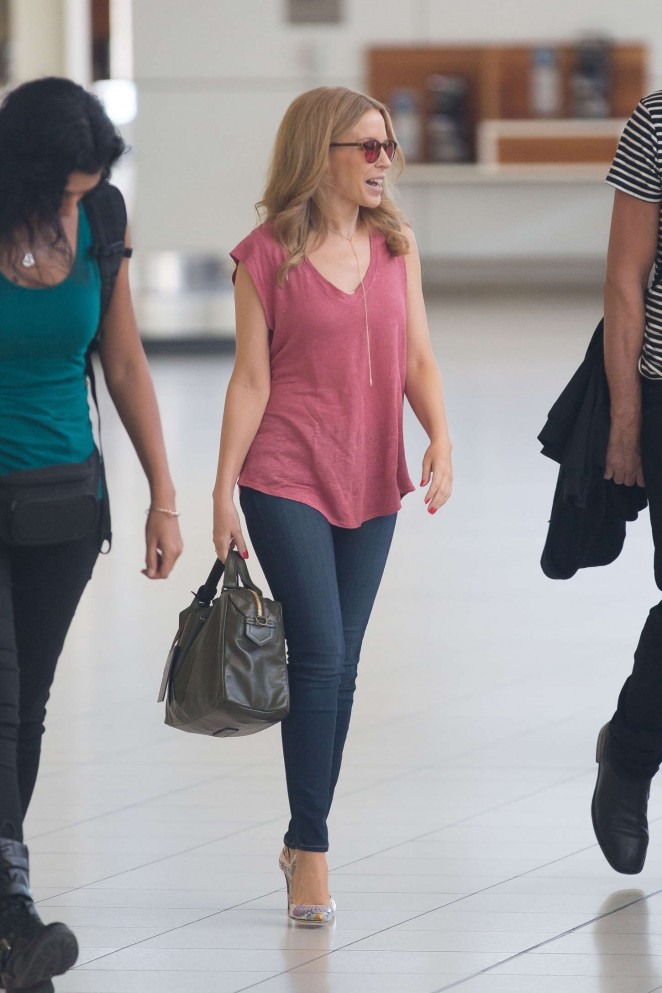 Kylie Minogue in Skinny Jeans at Adelaide airport in Australia