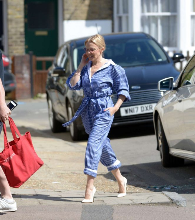 Kylie Minogue in Blue Dress out in London