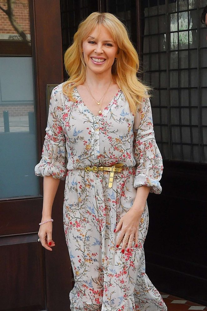Kylie Minogue in Floral Print Dress out in New York City