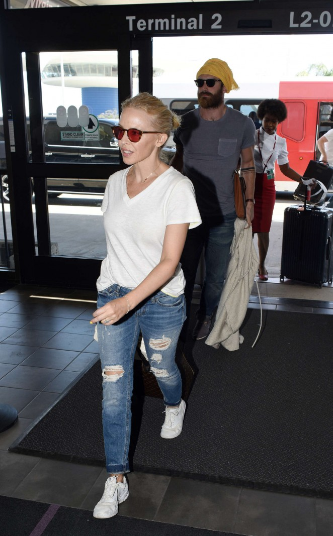 Kylie Minogue in Jeans at LAX Airport in Los Angeles