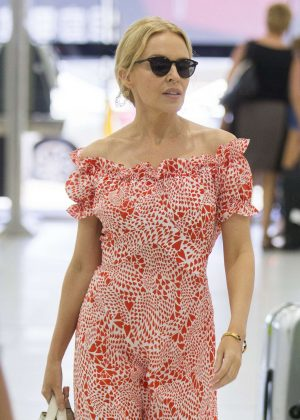 Kylie Minogue in Long Dress at Melbourne Airport