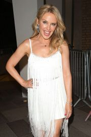 Kylie Minogue - In white dress leaving BBC Studios in London