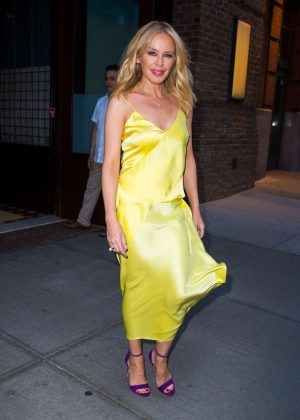 Kylie Minogue in Yellow Dress - Out in New York