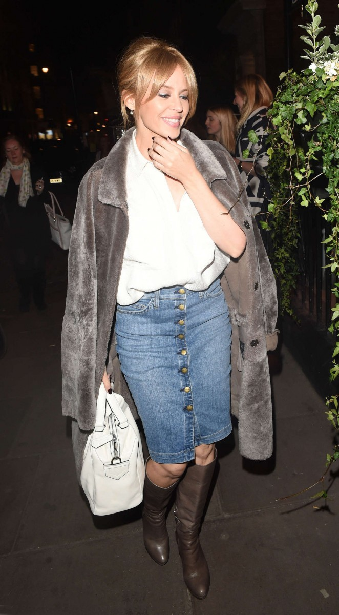Kylie Minogue in jeans Skirt out in London