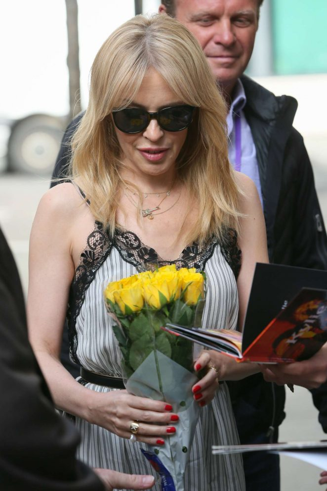 Kylie Minogue - Seen outside BBC Radio Two studios in London