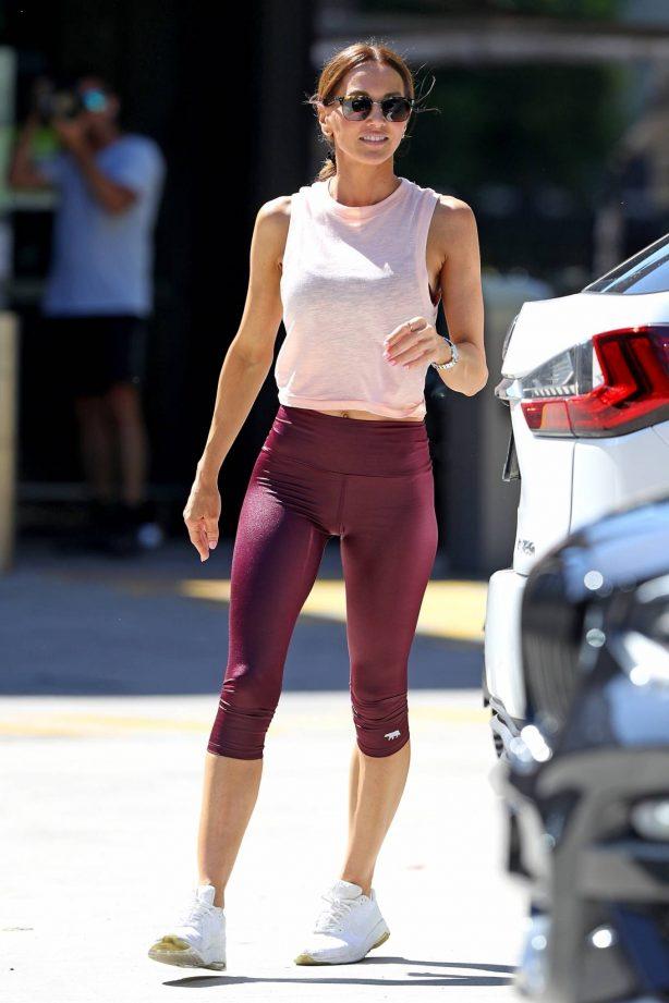 Kyly Clarke - Wearing yoga leggings in Sydney