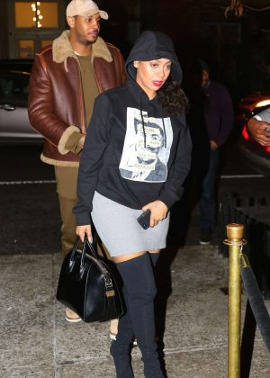 La La Anthony at Cipriani's after the Knicks blow out the Bulls in New York
