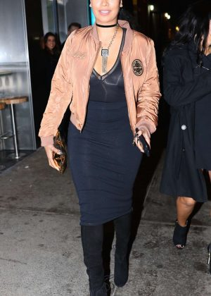 La La Anthony in Black Dress at Tao in New York