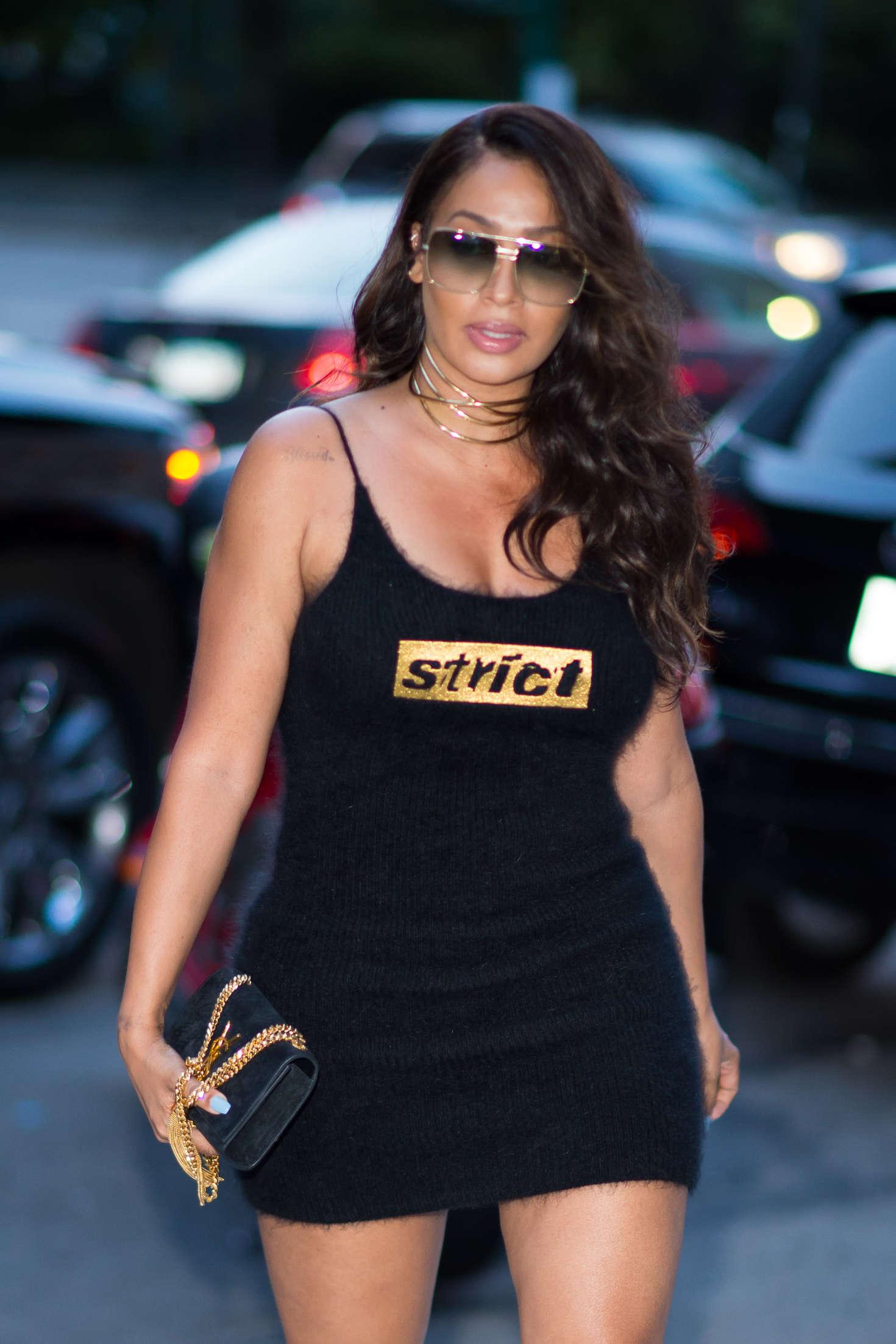 La La Anthony in Black Mini Dress out in New York City