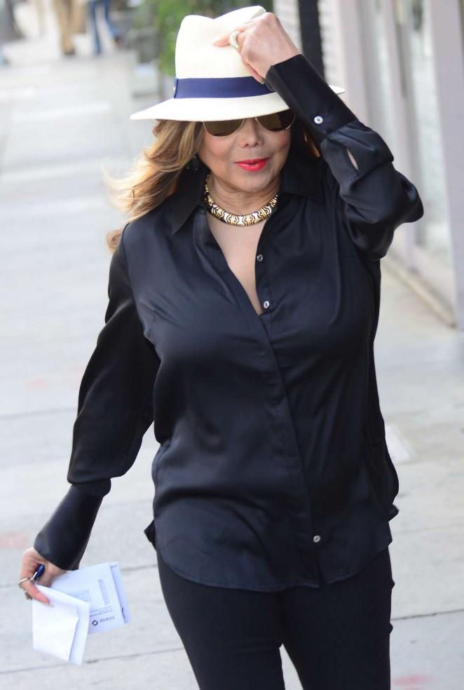 La Toya Jackson in Black out in Beverly Hills
