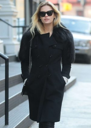 Lada Kravchenko in Black Outfit - Out in New York
