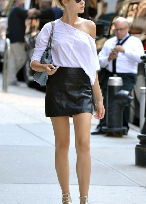 Lada Kravchenko in Leather Mini Skirt out in NY