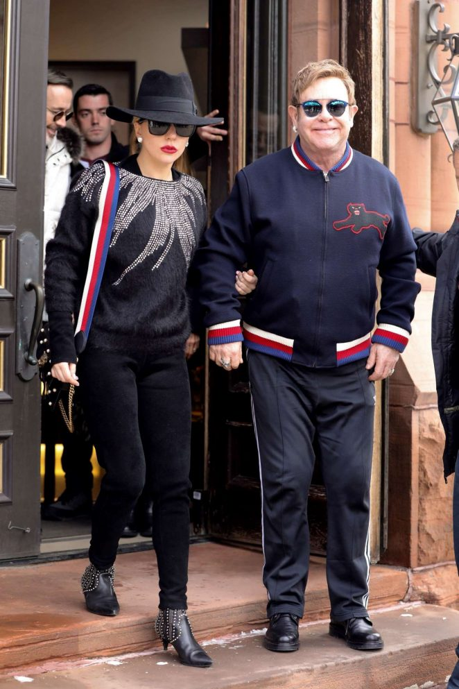 Lady Gaga and Elton John out at Christmas Eve in Aspen